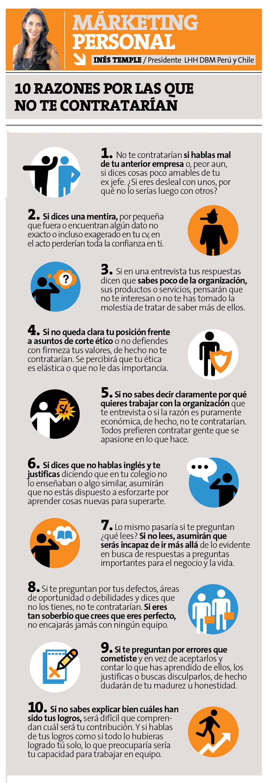 10 razones por las que no te contratarían