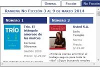 Ranking No Ficción 3 al 9 de marzo 2014