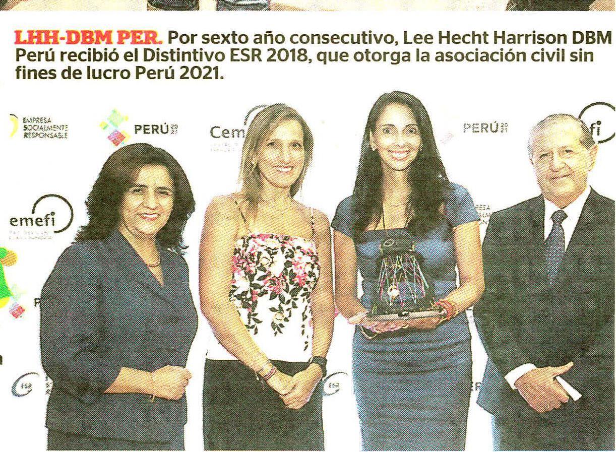 Cooreo 2005.2018 - LHH DBM Perú y distintivo ESR 2018