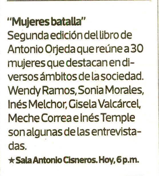 Mujeres batalla: Antonio Orjeda presenta 30 nuevas entrevistas 1 |  Ines Temple | 20 enero, 2021 | LHH DBM Perú
