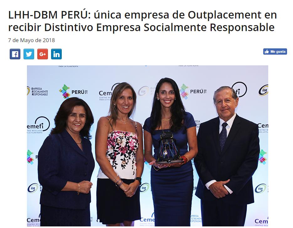 LHH DBM PERU AND THE 2018 ESR AWARD
