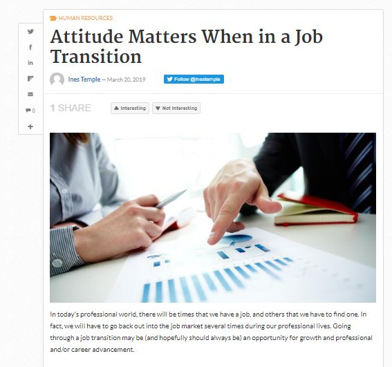 Business 2 community - March 20, 2019 - Ines Temple - English Mention - Attitude Matters when in a jobe transition