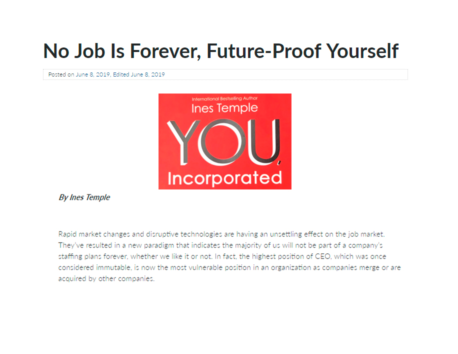 No Job Is Forever, Future- Proof Yourself - June, 8 2019 - Ines Temple - English Mention