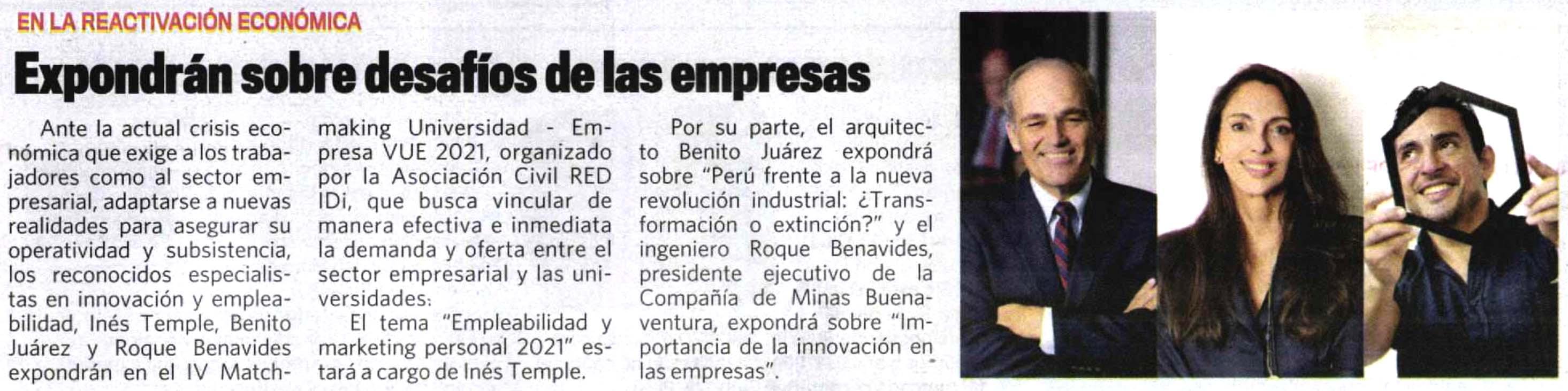 Expondrán sobre desafíos de las empresas 1 |  Ines Temple | Inés Temple | 25 julio, 2021 | LHH DBM Perú