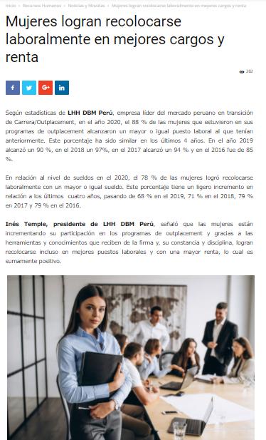 Mujeres logran recolocarse laboralmente en mejores cargos y renta 1 |  Administrador | Mujeres | 20 octubre, 2021 | LHH DBM Perú